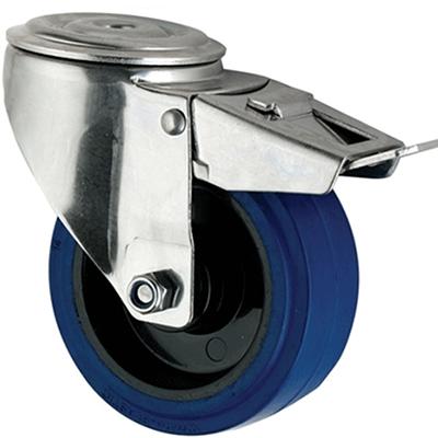 Stainless Steel Blue Rubber Castors Bolt Hole Braked