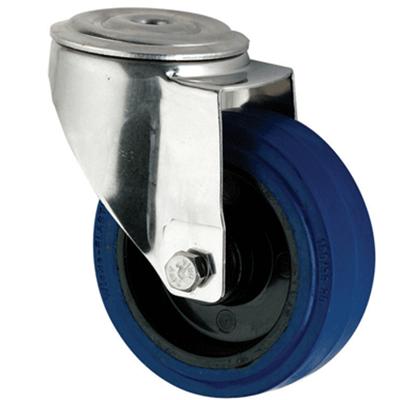 Stainless Steel Blue Rubber Castors Bolt Hole