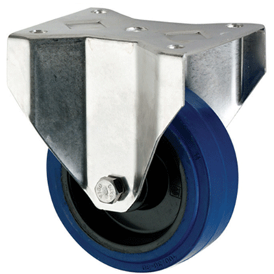 Stainless Steel Blue Rubber Castors Fixed