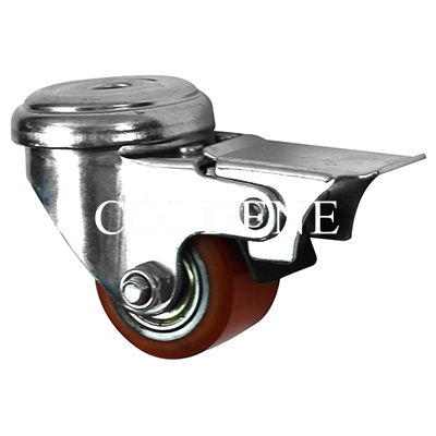 Low Level Castors – Cast Iron Polyurethane – Bolt Hole Braked Castor