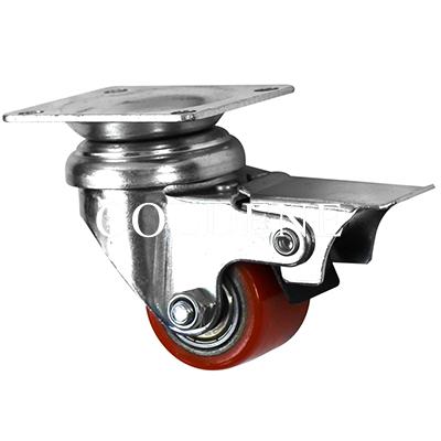 Low Level Castors – Cast Iron Polyurethane – Top Plate Braked Castor