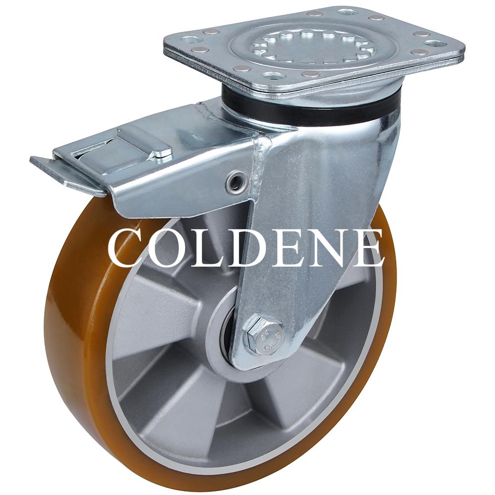 Extra Heavy Duty – Swivel Top Plate Braked – Aluminium Centre Polyurethane Wheel