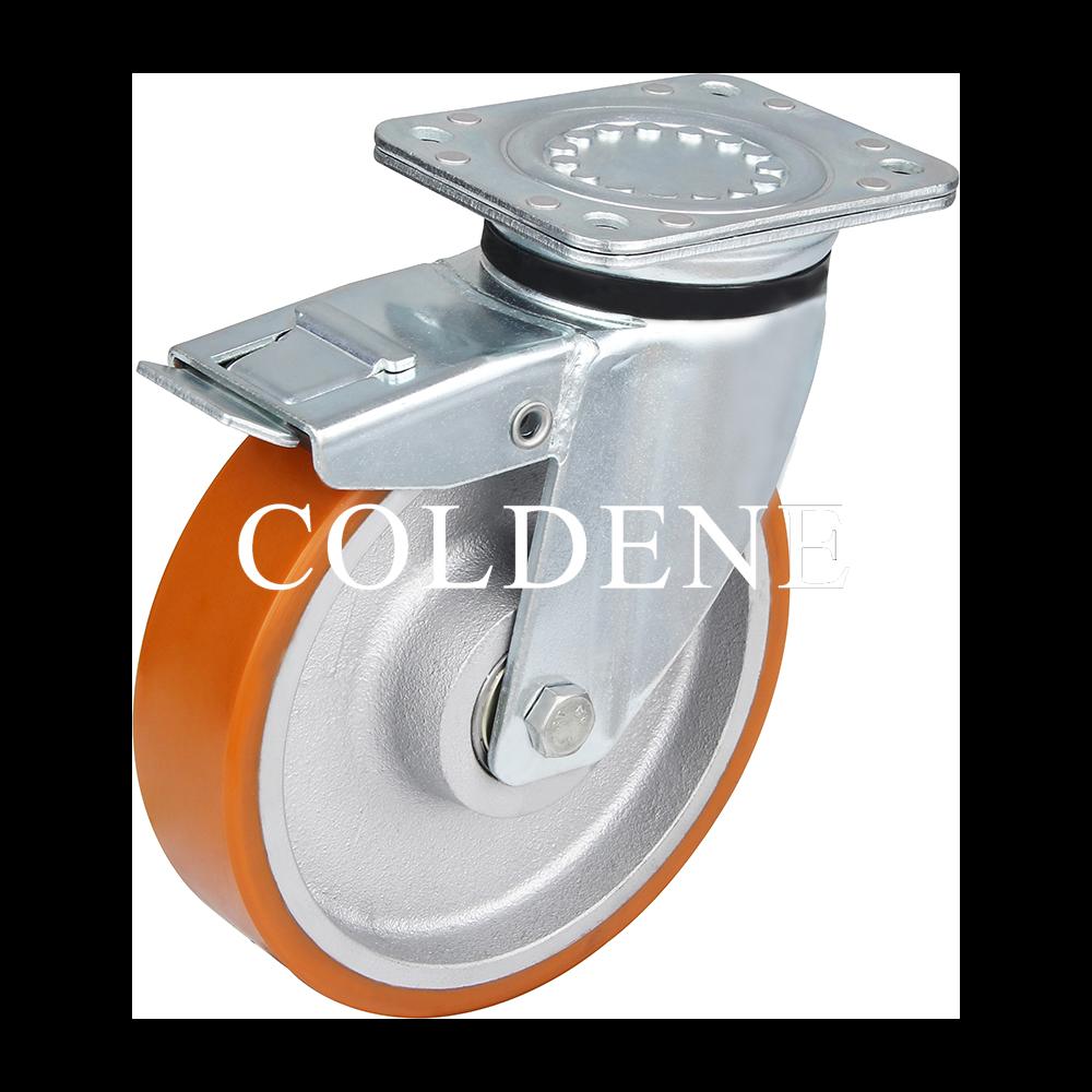 Extra Heavy Duty – Swivel Top Plate Braked – Cast Iron Polyurethane Wheel