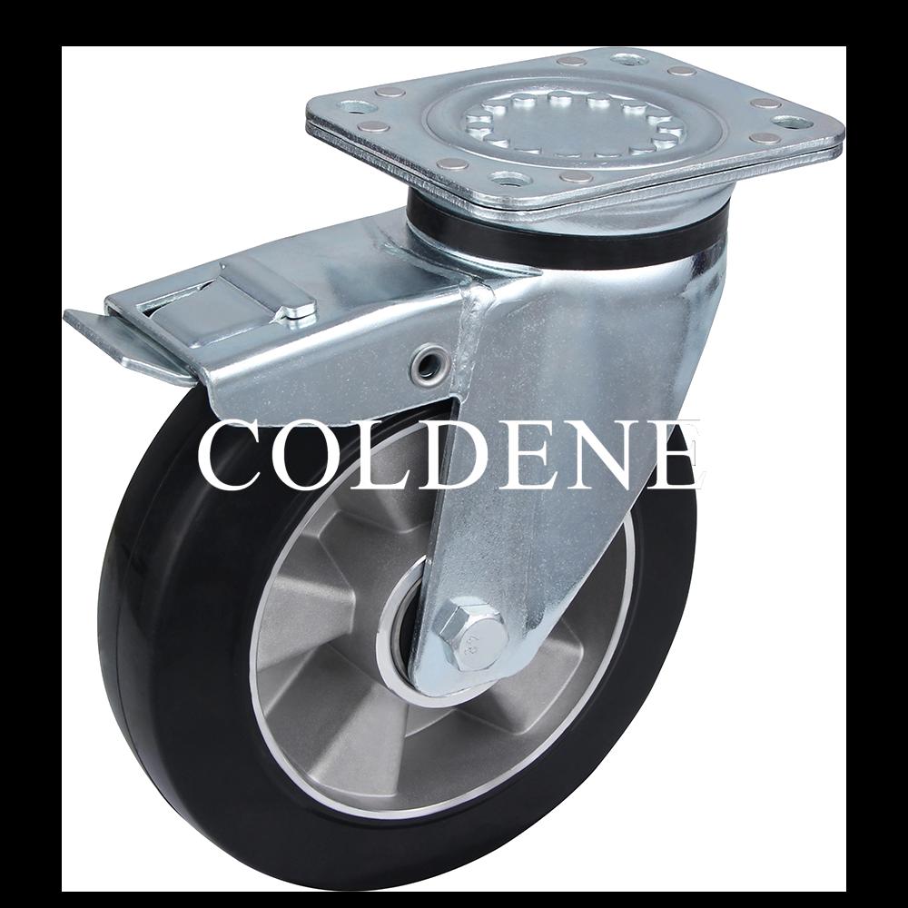 Castor Extra Heavy Duty – Swivel Top Plate Braked – Elastic Rubber Aluminium Wheel