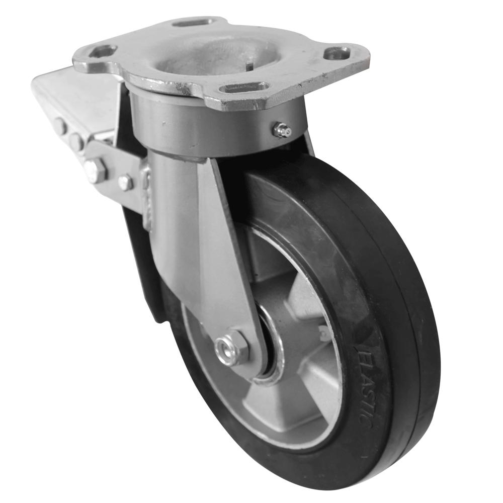 Fabricated Castors – Swivel Top Plate Braked – Elastic Aluminium Wheel