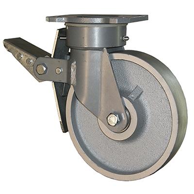 Fabricated Castors – Swivel Top Plate Braked – Cast Iron Wheel
