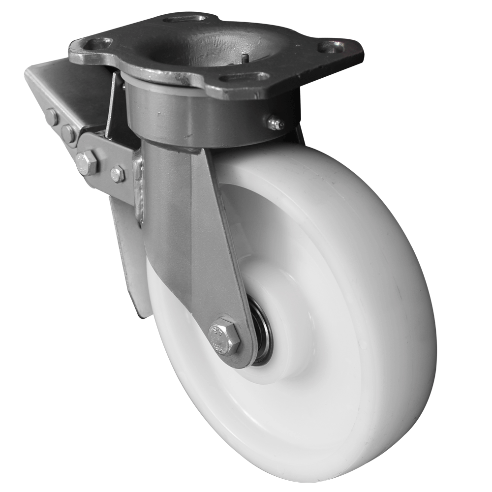 Fabricated Castors – Swivel Top Plate Braked – Nylon Wheel