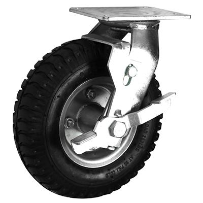 Pneumatic Castors – Swivel Braked – Steel Wheel Core