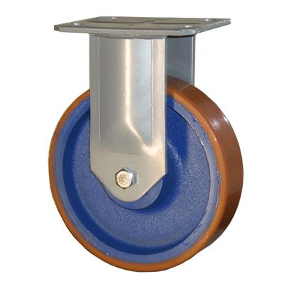 Fabricated Castors – Fixed – Cast Iron Polyurethane Wheel