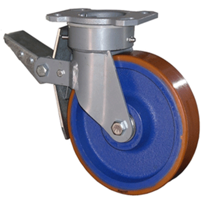 Fabricated Castors – Swivel Top Plate Braked – Cast Iron Polyurethane Wheel