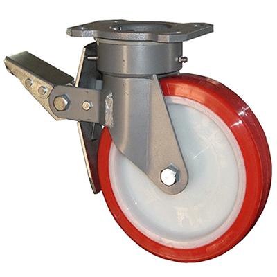 Fabricated Castors – Swivel Top Plate Braked – Polyurethane Wheel
