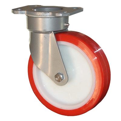 Fabricated Castors – Swivel Top Plate – Polyurethane Wheel