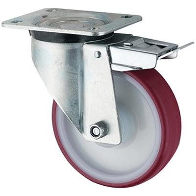 Extra Heavy Duty – Swivel Top Plate Braked – Polyurethane Tyre Nylon Centre Wheel