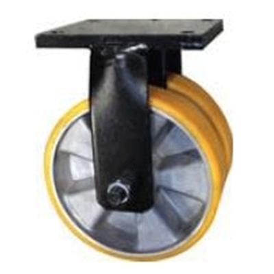 Twin Wheel Fabricated Castors – Fixed – Aluminium Polyurethane Wheel