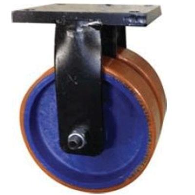 Twin Wheel Fabricated Castors – Fixed – Cast Iron Polyurethane Wheels
