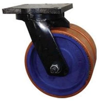 Twin Wheel Fabricated Castors – Swivel – Cast Iron Polyurethane Wheels