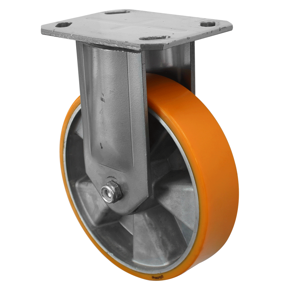 Fabricated Castors – Fixed – Aluminium Polyurethane Wheel