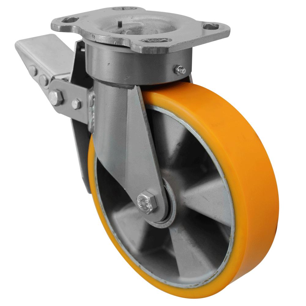 Fabricated Castors – Swivel Top Plate Braked – Aluminium Polyurethane Wheel