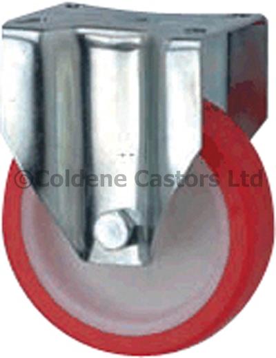 Medium Duty Stainless Steel Polyurethane Castors Fixed