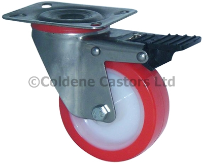 Medium Duty Stainless Steel Polyurethane Castors Swivel Braked