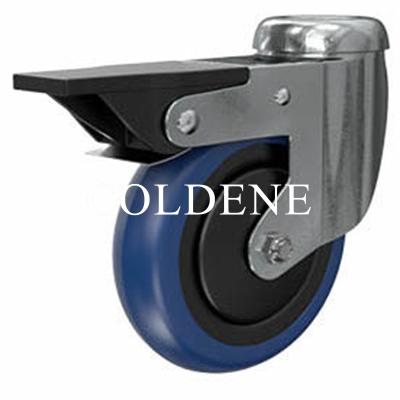 Light Duty Stainless Steel Blue Polyurethane Castor Bolt Hole Braked