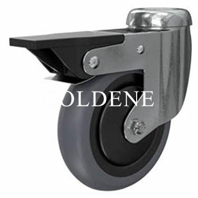 Light Duty Stainless Steel Grey Rubber Castor Bolt Hole Braked