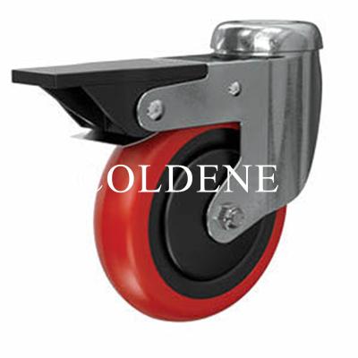 Light Duty Stainless Steel Red Polyurethane Castor Bolt Hole Braked