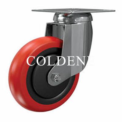 Light Duty Stainless Steel Red Polyurethane Castor Swivel
