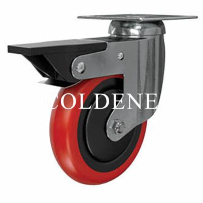 Light Duty Stainless Steel Red Polyurethane Castor Swivel Braked