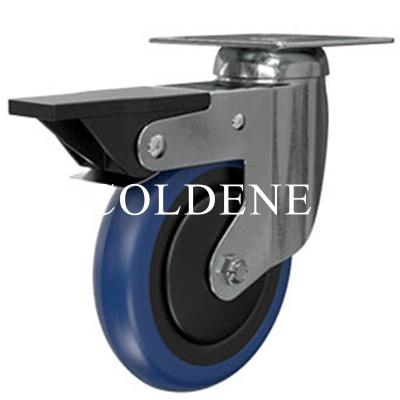 Light Duty Stainless Steel Blue Polyurethane Castor Swivel Braked