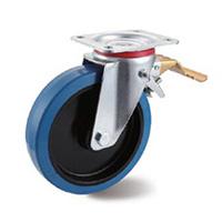 Blue Rubber Castors Swivel Leading Brake
