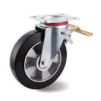 Black Elastic Aluminium Castors Swivel Leading Brake