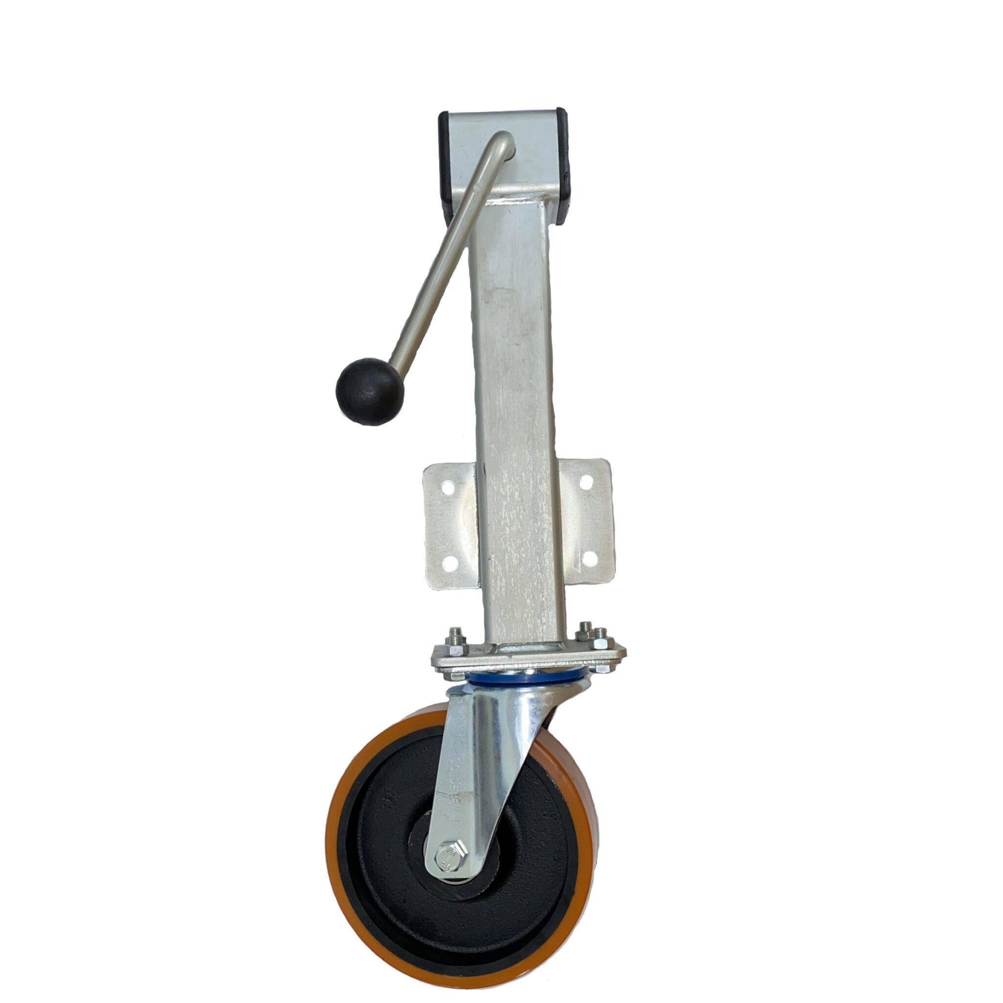 Polyurethane Tyre Cast Iron Centre Wheel – Side Winding Heavy Duty Jacking Castor – Swivel