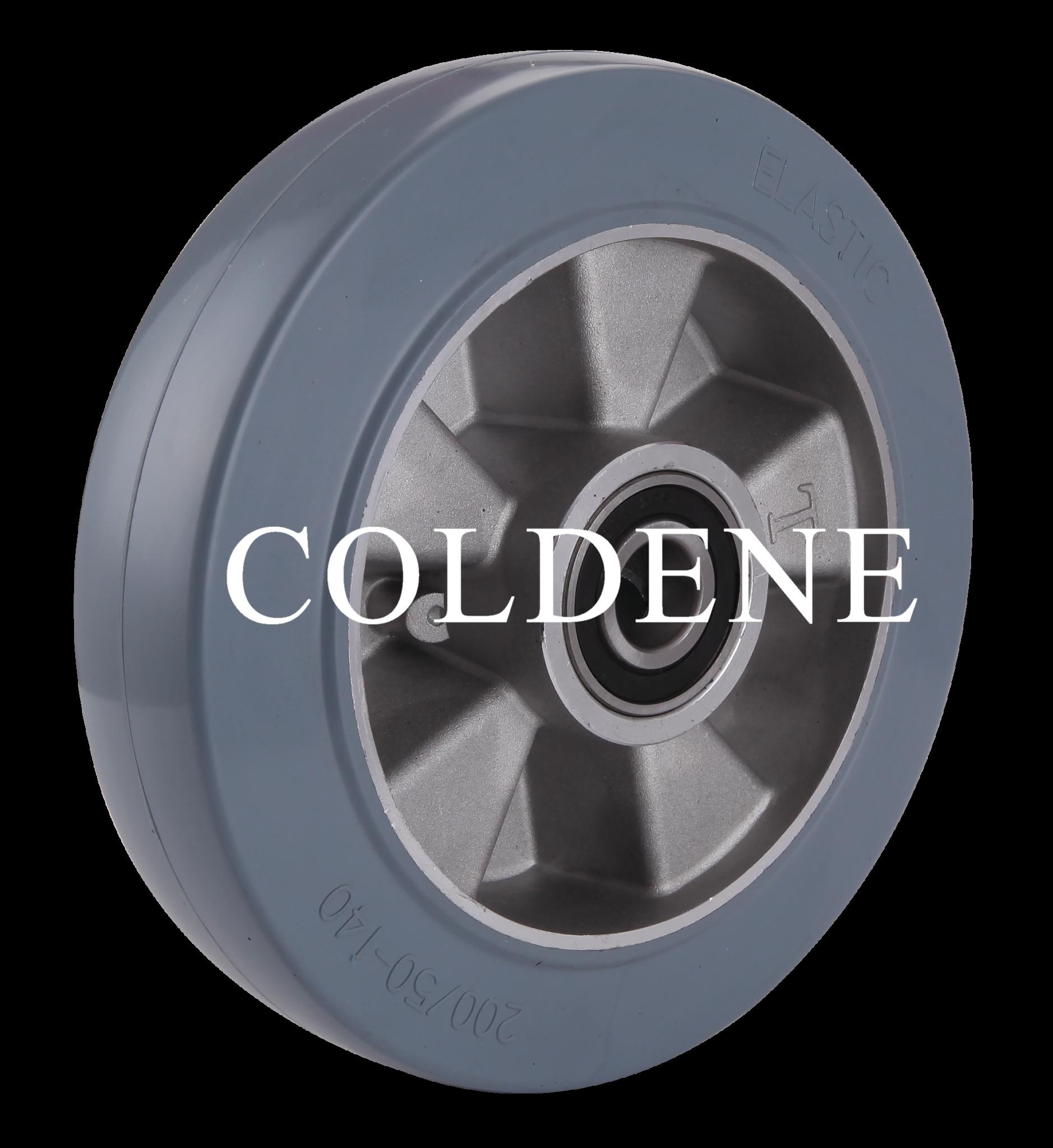 Grey Elastic Rubber Tyre Aluminium Centre