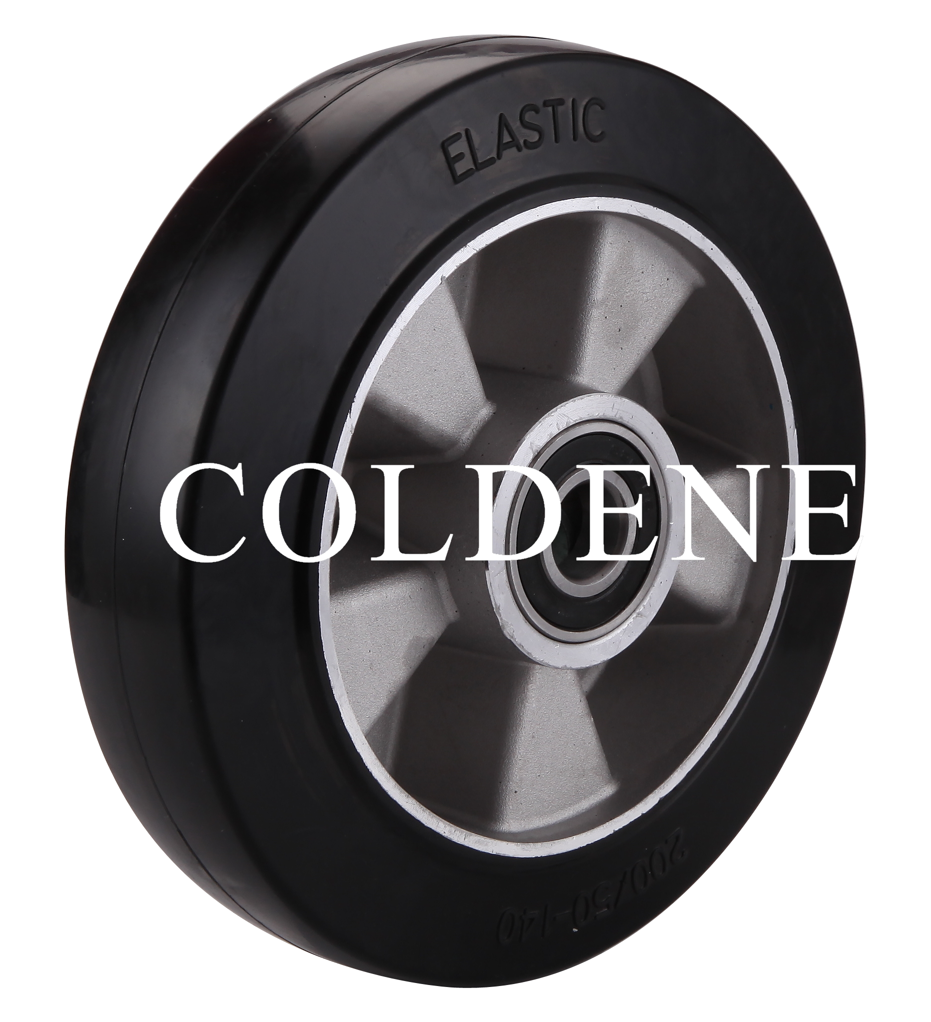 Black Elastic Rubber Tyre Aluminium Centre