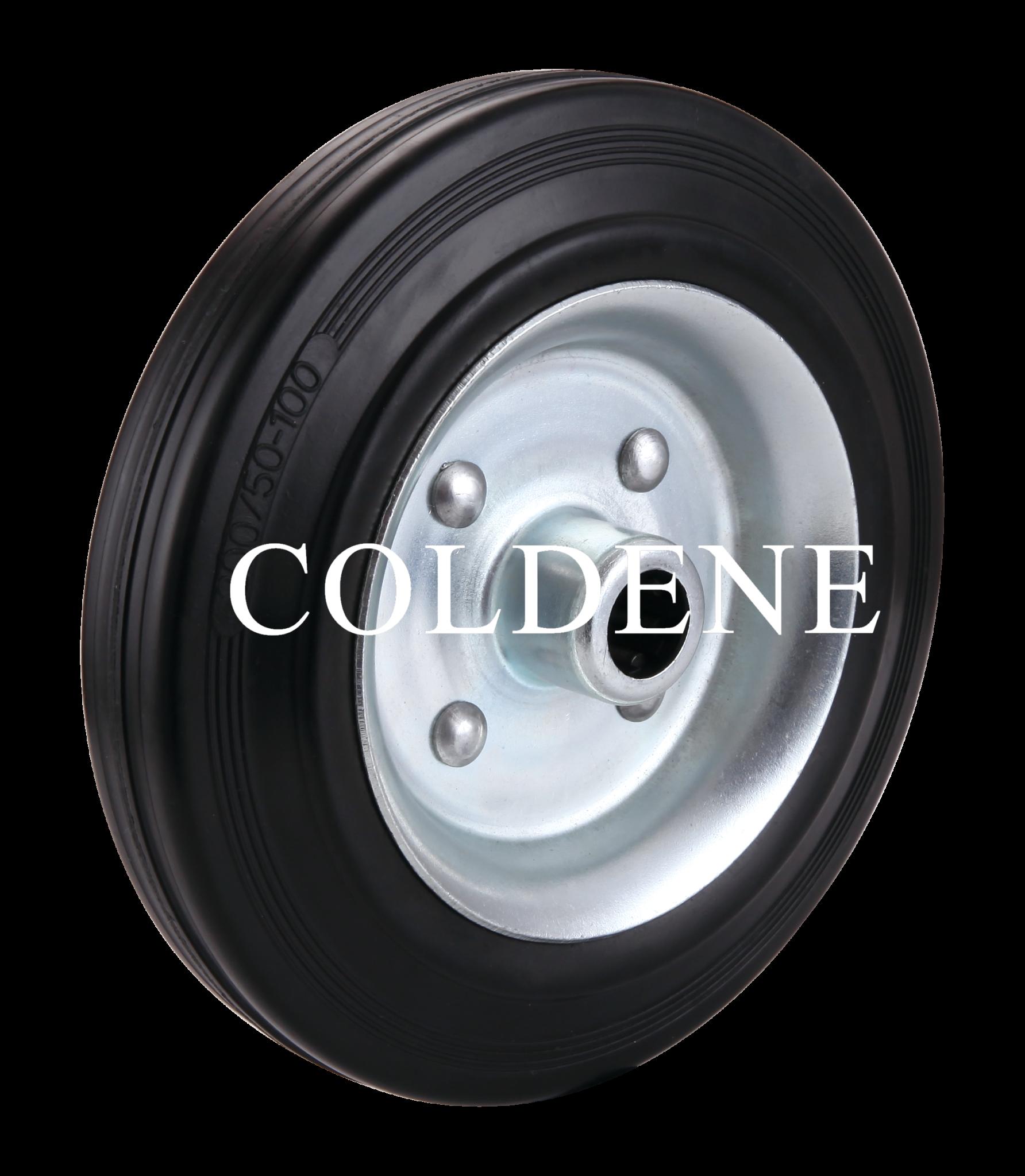 Black Rubber Pressed Steel Centre Wheel