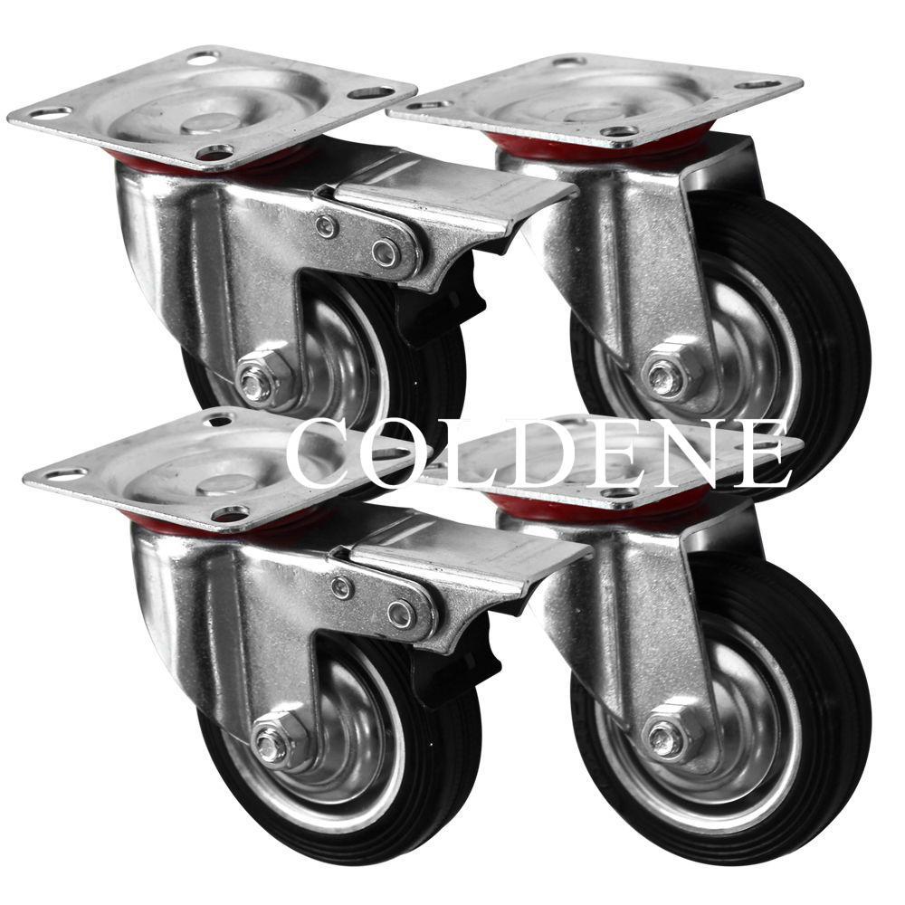 Pressed Steel Pack 2x Swivel 2x Swivel Braked