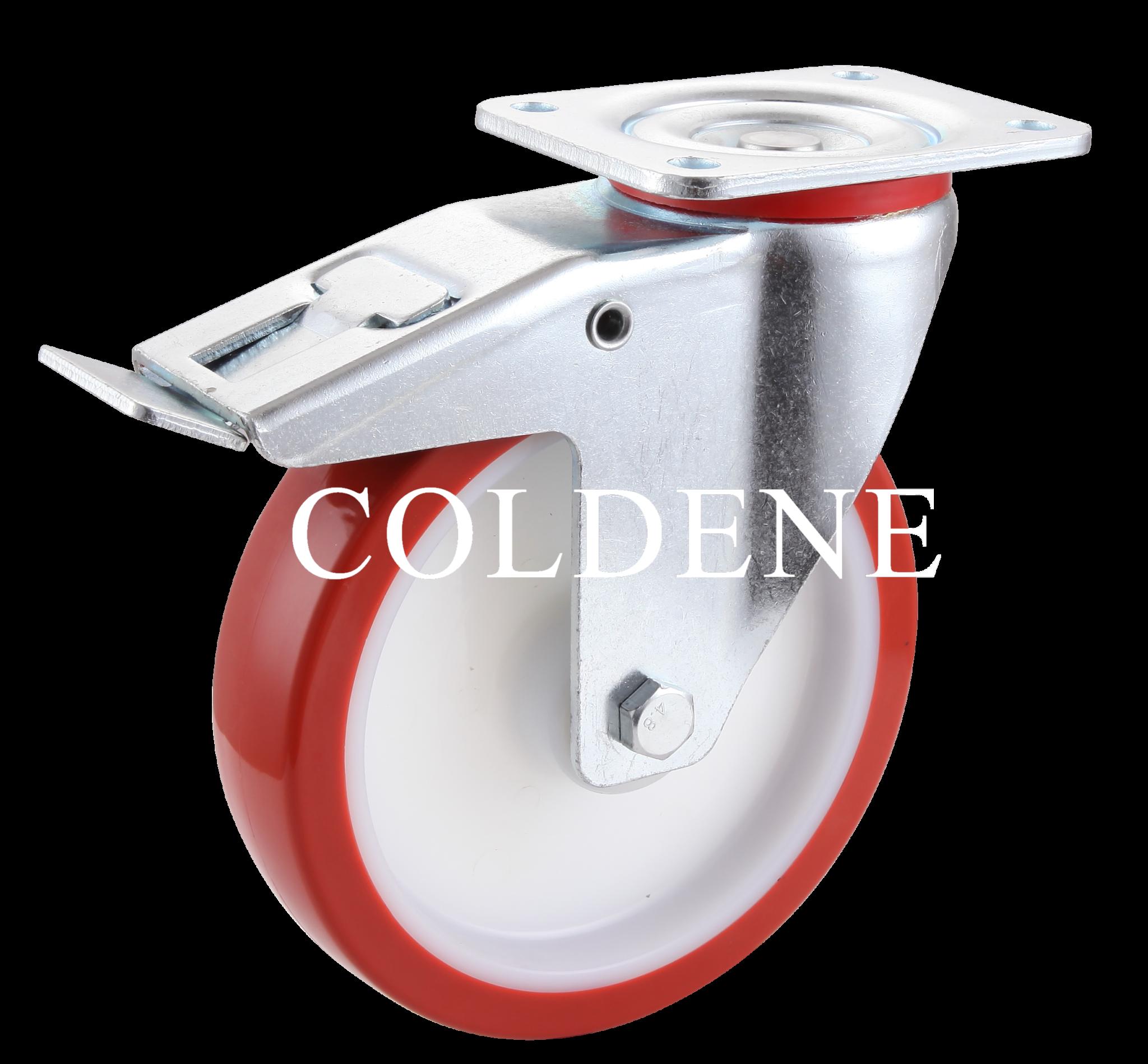 Polyurethane Castors Swivel Braked – Plate Fitting